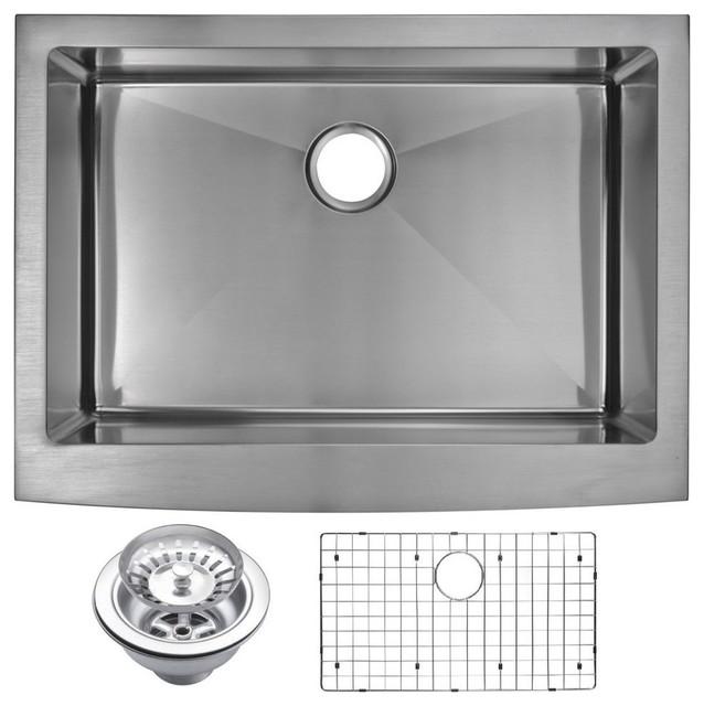 "30"" X 22"" Small Radius Single Bowl Stainless Steel Apron Front Kitchen Sink."