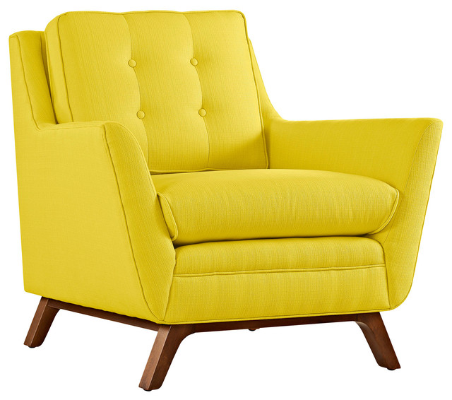 Charmant Modern Contemporary Fabric Armchair , Yellow, Fabric
