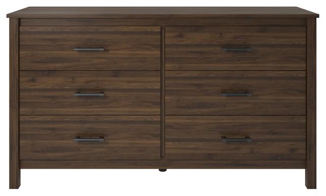 A Design Studio Landon Way 6 Drawer Dresser In Walnut.