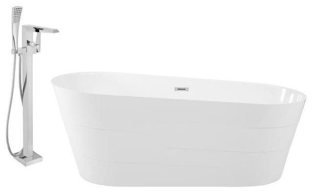 "Streamline 67"" Freestanding Faucet And Tub Set, Oval_h-100-Tfmshch."