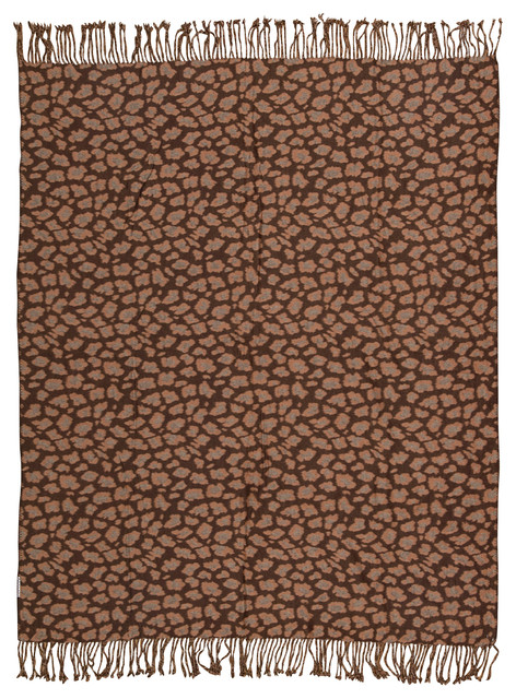 Mina Victory Throw Leopard Print Throw Brown and Beige Throw Blanket