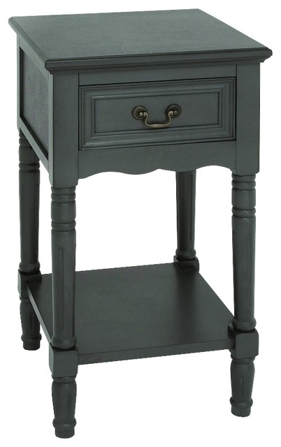 Light Grey Bedside Table: Wood Accent Table, Brown Finish With Glossy Lacquer