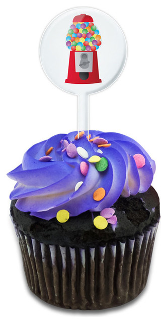 Gumball Machine Candy Cupcake Toppers Picks Set.