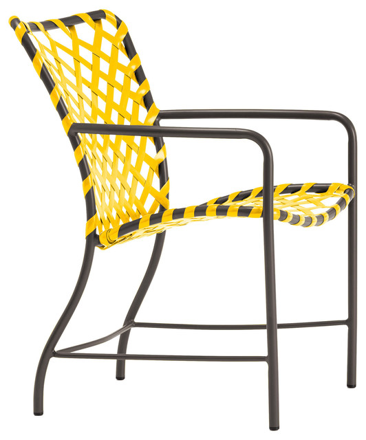 Tamiami Arm Chair, Vinyl Lace, Yellow Strap, Mica Finish