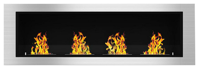 "Charlotte 64"" Ventless Built, Recessed Bio Ethanol Wall Mounted Fireplace."
