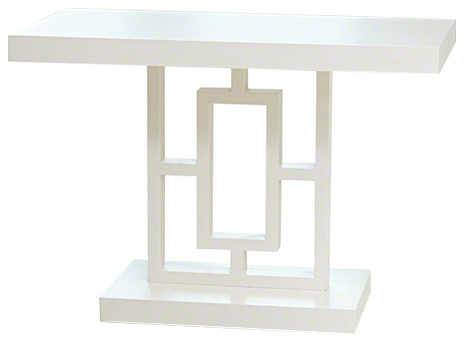 Grid Block Side Table Geometric Oriental End Modern Contemporary White