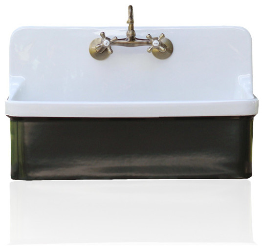 studio green vintage style high back farm sink kohler gilford apron utility sink