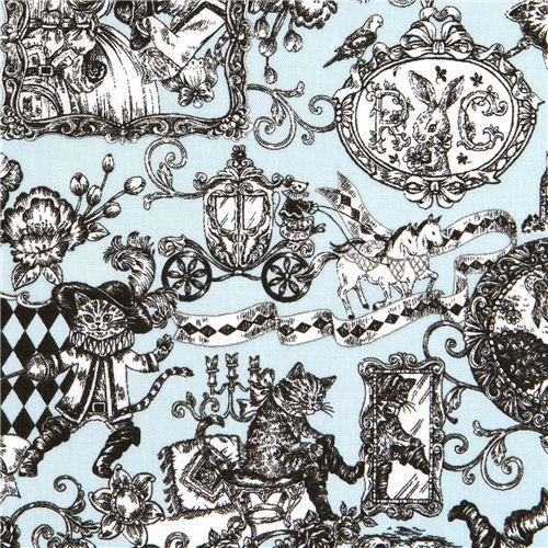 blue Puss in Boots fairy tale fabric by Kokka Japan
