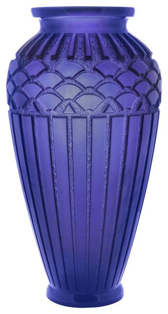Daum Rhythms Vase Large Blue Contemporary Vases By Biggs Ltd