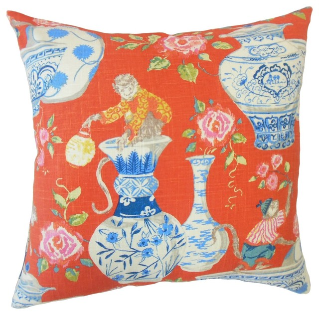"Gaiwan Chinoiserie Throw Throw Pillow,  Chili, 12""x18""."