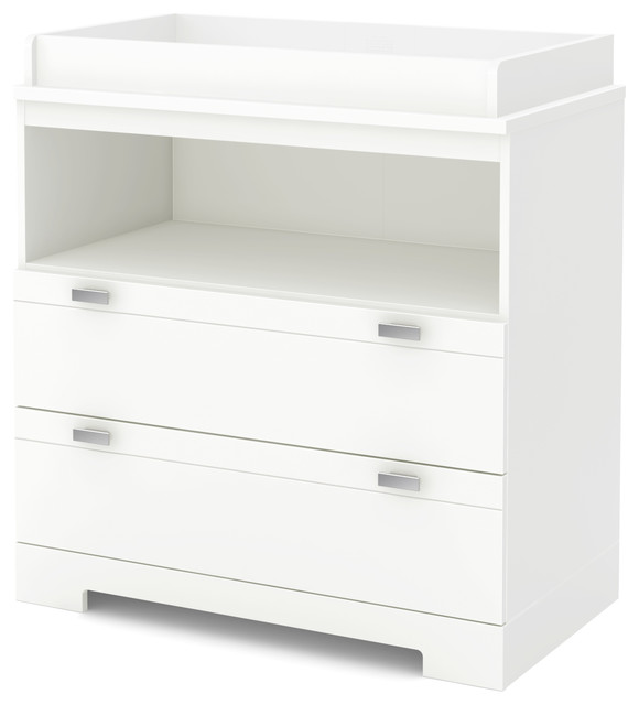 South Shore Reevo Changing Table With Storage, Pure White Contemporary  Changing Tables
