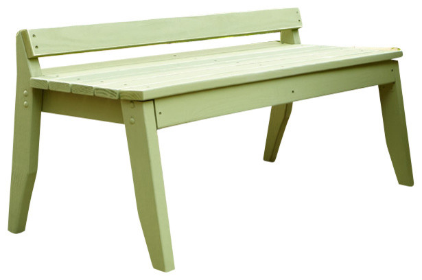 Plaza 2 Seat Bench No Back White Distressed