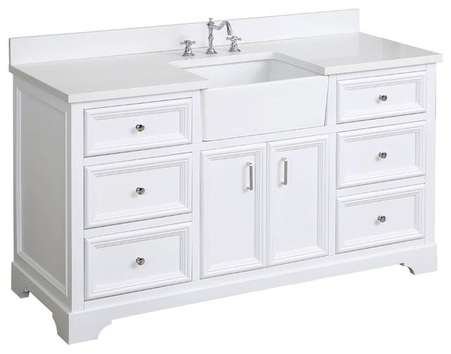 "Zelda Bathroom Vanity, Base: White, 60"", Top: Quartz, Single Sink"