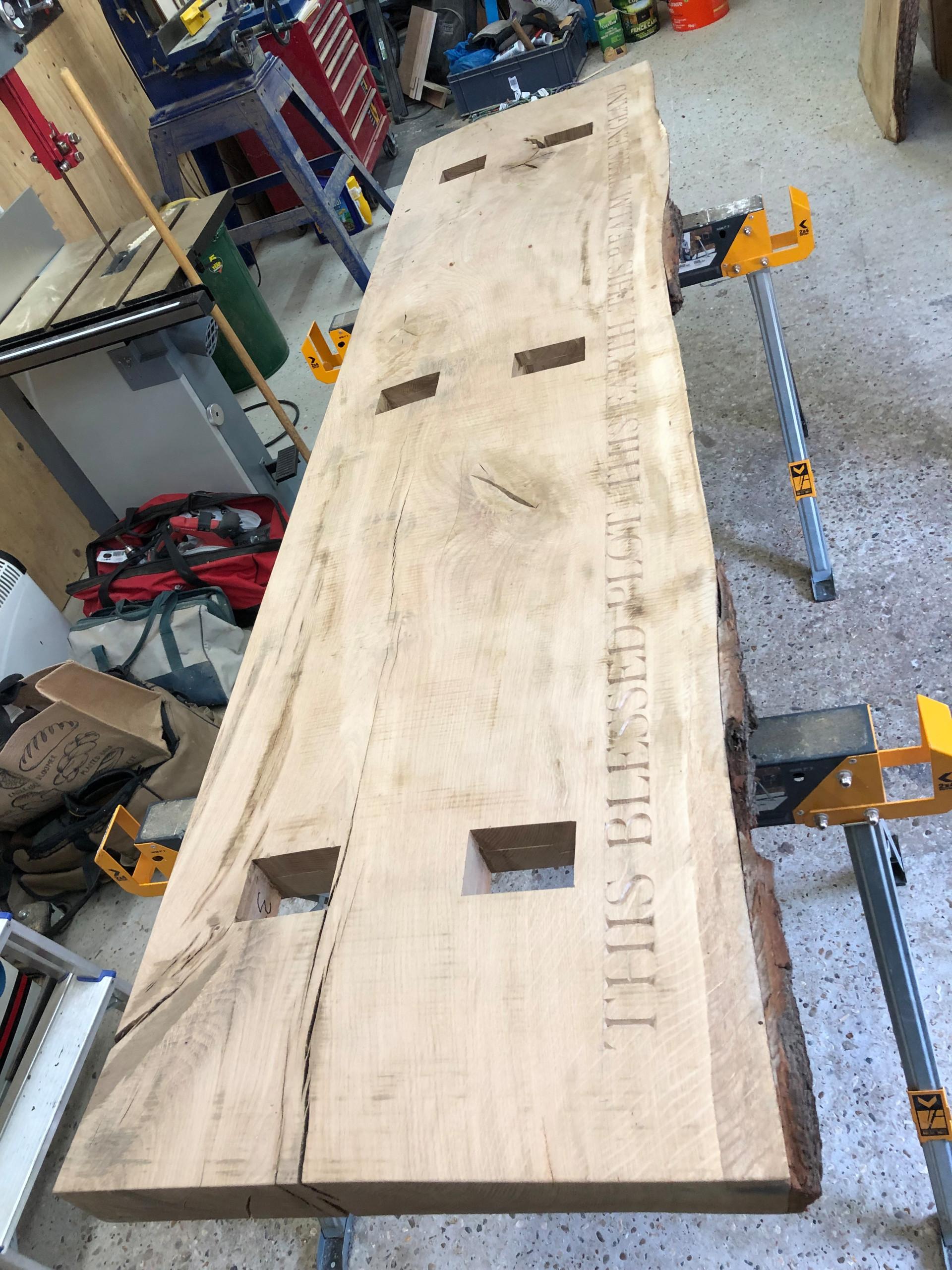 Carved & Morticed Top - Oak Bench