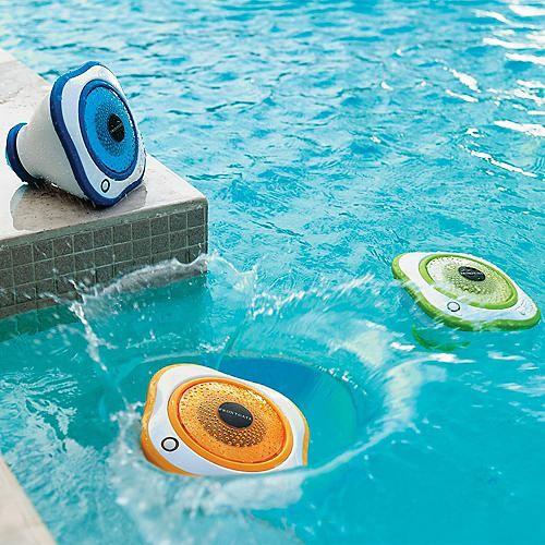 Set of Three Floating LED Pool Speakers - One Blue, One Green, One Orange - Fron
