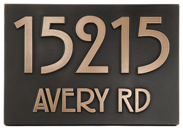 Modern Stickley Address Plaque No Border X - Contemporary house numbers