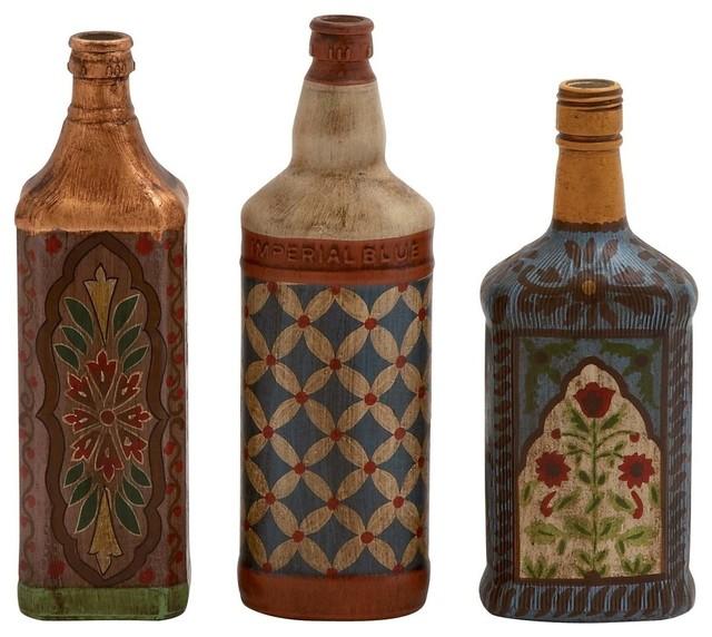 Bevin 3-Piece Glass Painted Bottle Set