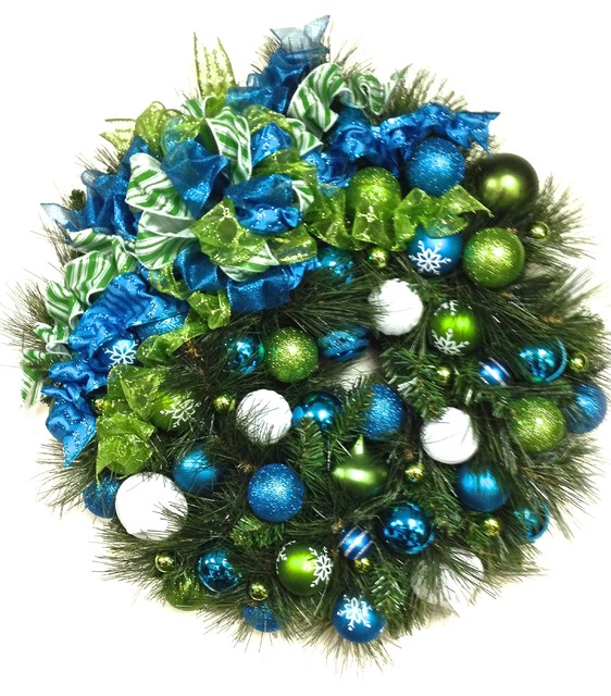 Turquoise Blue Lime Green And White Shatterproof Christmas Wreath Traditional Wreaths And Garlands By Sandy Newhart Designs