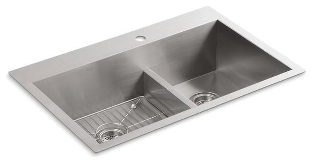 "Kohler Vault Smart Divide Top-/under-Mount Double Bowl Sink, 33""x22""x9.31""."