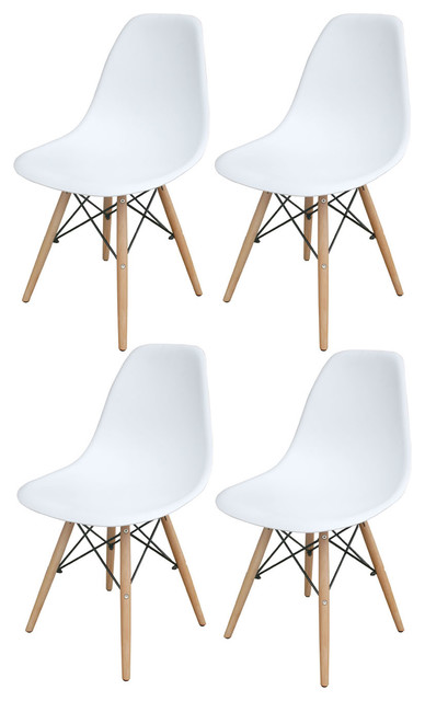 AmeriHome Set Of 4 Wooden Leg Accent Chairs, White
