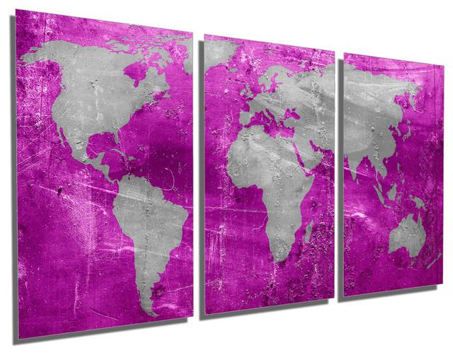 Pink Purple Silver World Map Metal Print Wall Art 3 Panel Split 48x24