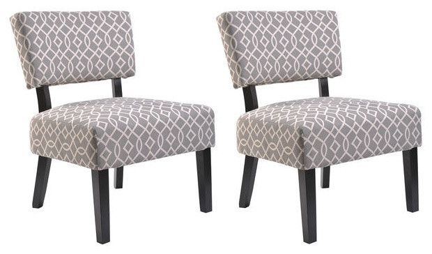 Charlotte fabric accent chair set of 2 contemporary Modern furniture charlotte