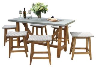 7 piece teak and wicker counter height dining set gray - Outdoor interiors 7 piece patio set ...