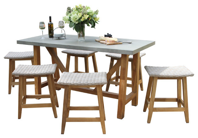 7 Piece Teak And Wicker Counter Height Dining Set Gray Top Saddle Stools Tropical Outdoor