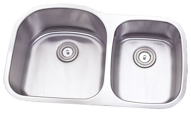 32 Stainless Steel Undermount Double D Bowl Offset Kitchen Sink
