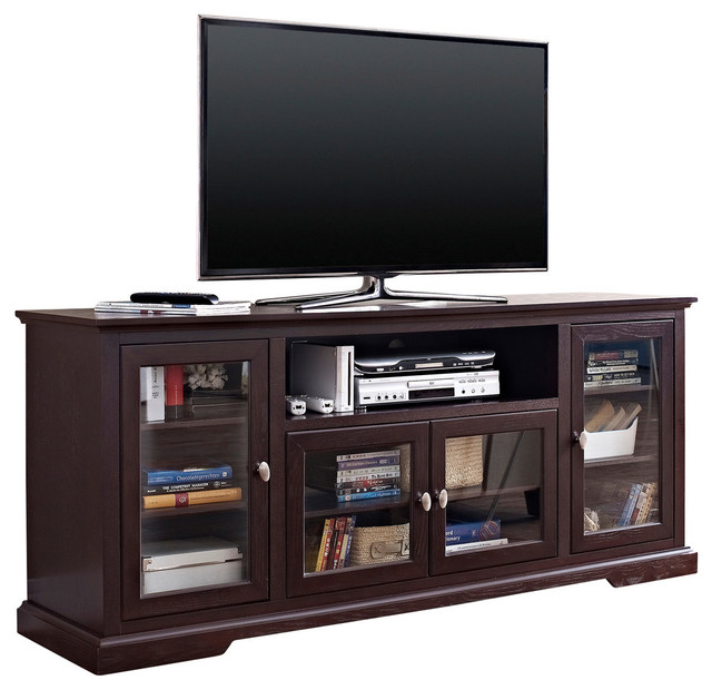 """70"""" Wood Highboy TV Stand - Transitional - Entertainment Centers And Tv Stands - by Walker Edison"""
