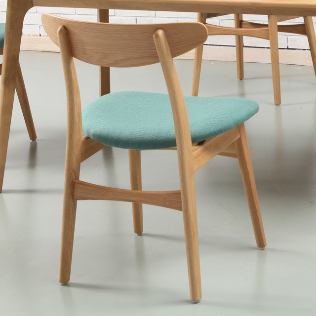 Astrid Danish Solid Oak Dining Chair Turquoise Seat – Oak Dining Chair