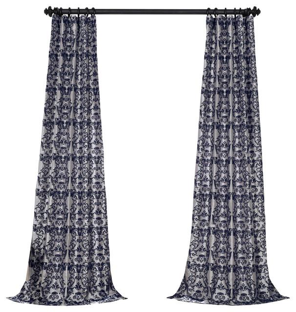 "Firenze Flocked Fauxsilk Single Panel Curtain, Silver/blue, 50""x84""."