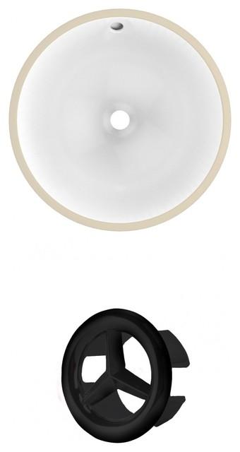 16.5round Undermount Sink Set In White, Black Hardware.