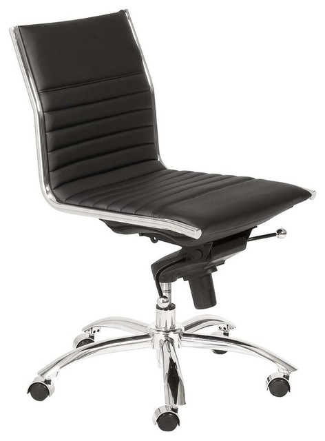 back swivel office chair without arms in black modern office chairs