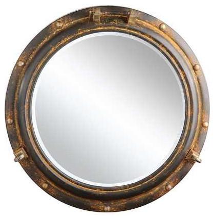 Porthole Framed Wall Mirror, Rust Finish - Beach Style - Wall ...