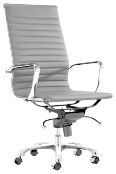 Modern L Ribbed High Back Management Office Chair, Grey.