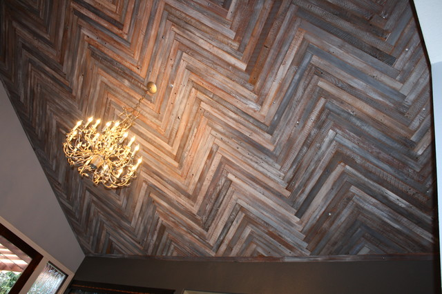 Reclaimed Wood Ceiling In A Herringbone Pattern