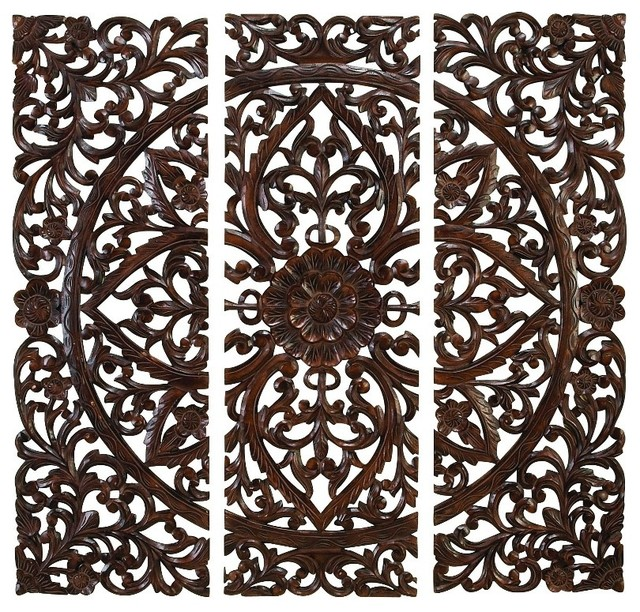 Set of 3 Carved Wood Wall Panels Rich Brown Intricate Floral Home Decor  traditional-wall - Set Of 3 Carved Wood Wall Panels Floral Home Decor - Traditional
