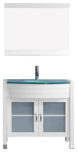 "Ava 36"" Single Bathroom Vanity Set, White, Glass Top, Integrated Basin."