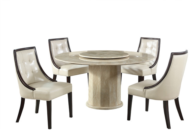 Raphael 5-Piece Round Marble Dining Set, Ivory/Espresso by Furniture Import & Export Inc.