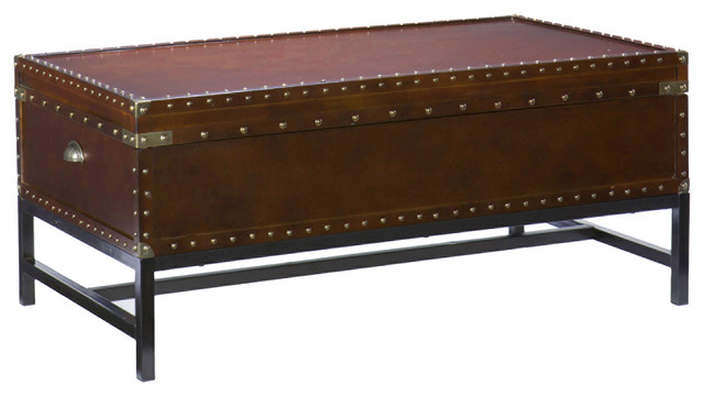 yorkshire storage cocktail table, espresso - transitional - coffee