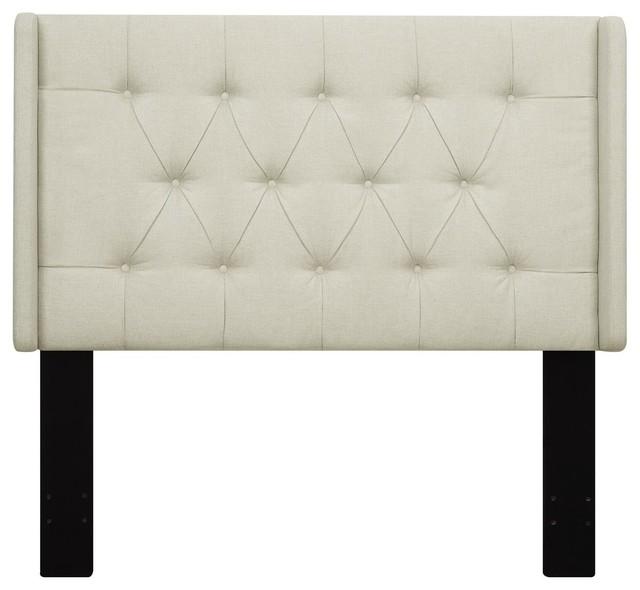 Pulaski Shelter Button Tufted Upholstered Headboard Beige, King.