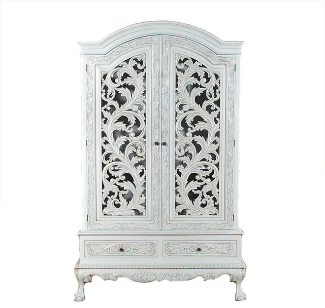 Antiqued White Rococo Armoire Wardrobe Victorian Armoires And Wardrobes By Mbw Furniture