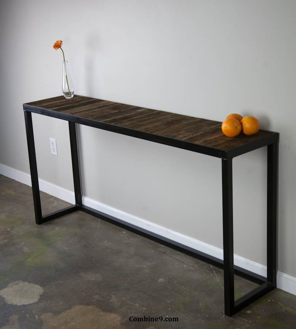 modern sofa table. reclaimed wood. modern, urban, vintage design