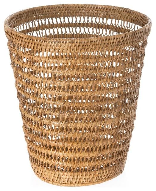 Kouboo la jolla rattan mesh round waste basket honey brown wastebaskets houzz - Rattan waste basket ...