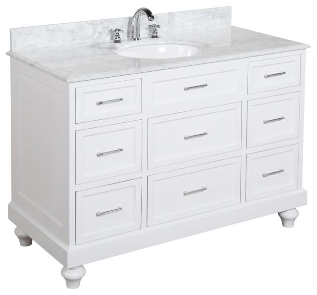 Amelia Bath Vanity With Carrara Marble Top Traditional Bathroom