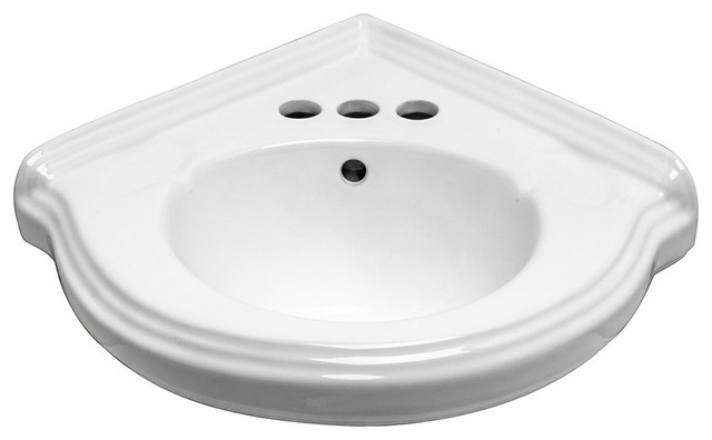 Wall Mount Corner Small Bathroom Sink White Gloss China Portsmouth with Bracket