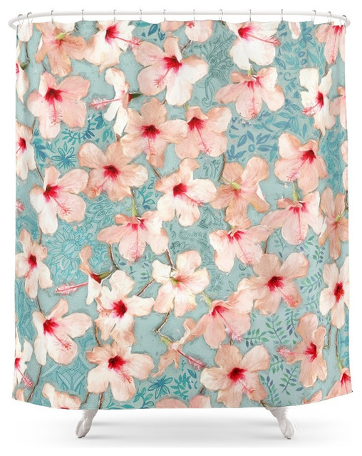 Shabby Chic Hibiscus Patchwork Pattern In Peach And Mint