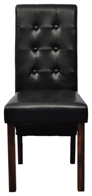 Fabulous Set Of 2 Black Dining Side Chairs Tufted Scroll Back Artificial Leather Kitchen Machost Co Dining Chair Design Ideas Machostcouk