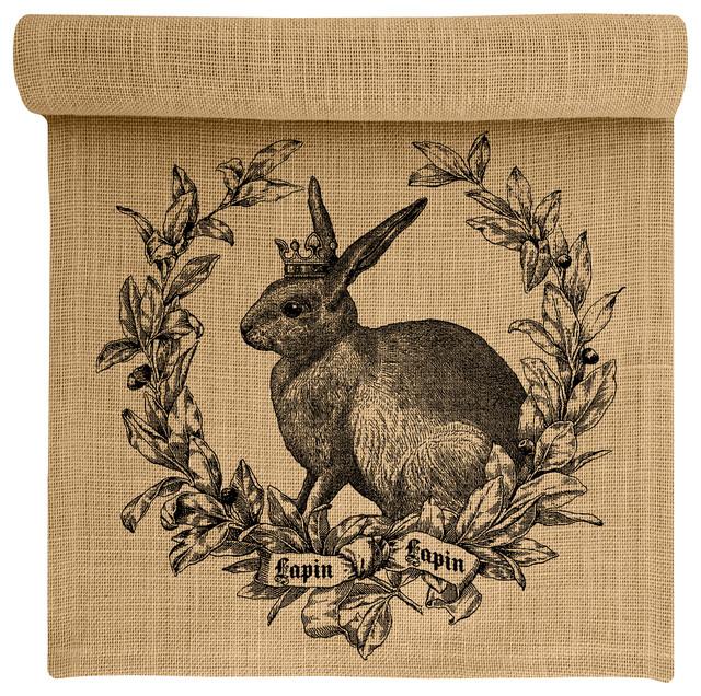 Rabbit Crest Burlap Table Runner Farmhouse Table